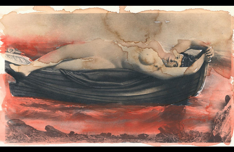 Sans titre - 2008 - crayon, encre et aquarelle sur héliogravure -16 x 26,5 cm